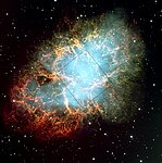 Crab nebula: VLT field, HST image outlined