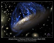 A Disintegrating Galaxy Plows Through Space (artist's impression)