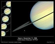 Hubble Sees Moons Racing Across Saturn