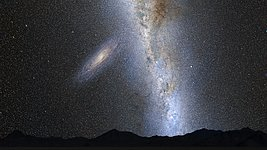 Nighttime Sky View of Future Galaxy Merger: 2 Billion Years