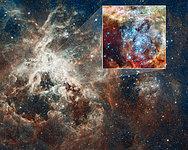 30 Doradus nebula and star clusters