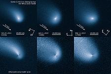 Comet Siding Spring comparison of enhanced and original images