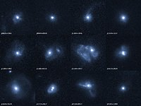 Outflows from twelve merging galaxies