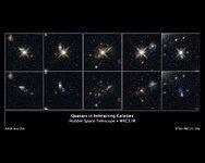 Quasars in interacting galaxies