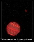 Artist's View of a Super-Jupiter around a Brown Dwarf (2M1207)