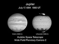 Jupiter's Comet Collision Sites As Seen in Visible and Ultraviolet Light