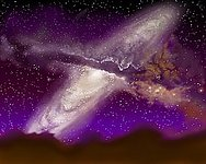 Milky Way/Andromeda Collision (artist's impression)