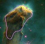 Eagle Nebula with a representation of a giant molecular cloud
