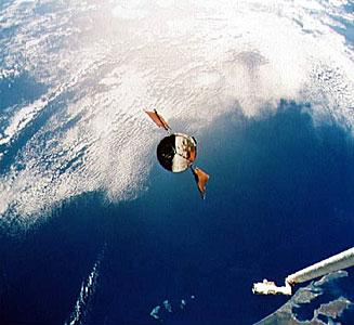 Hubble Space Telescope approaches Shuttle Endeavour