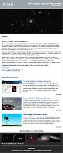 Screenshot of the January 2014 issue of ESA/Hubble Science Newsletter