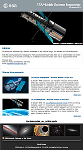 Screenshot of the January 2015 issue of ESA/Hubble Science Newsletter now available