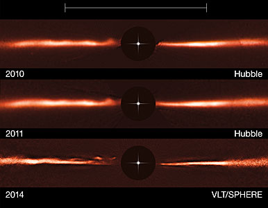 Hubble and VLT images of the disc around AU Microscopii