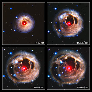 Hubble watches light echo from mysterious erupting star (composite)
