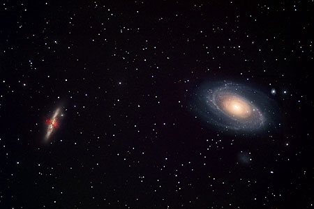 The dynamic duo, Messier 81 and 82 (ground-based)