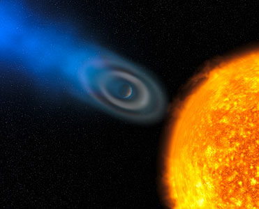 "Oxygen and carbon discovered in extrasolar planet atmosphere ""blow-off"" [artist's impression]"