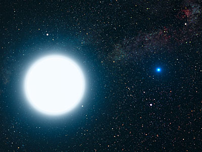 An artist's impression of Sirius A and B