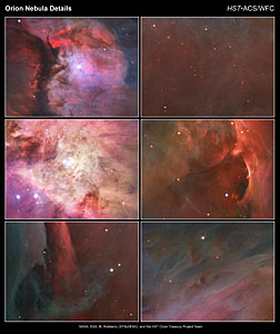 Close-up images of the Orion Nebula