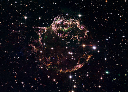Cassiopeia A - The colourful aftermath of a violent stellar death