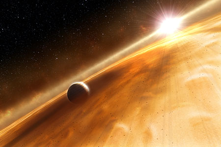 Artist's concept of exoplanet orbiting Fomalhaut