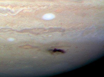 Closeup of new dark spot on Jupiter