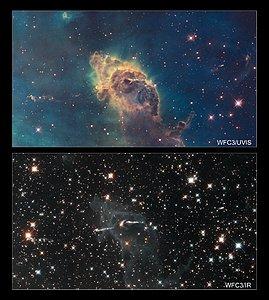 Stars bursting into life in the chaotic Carina Nebula