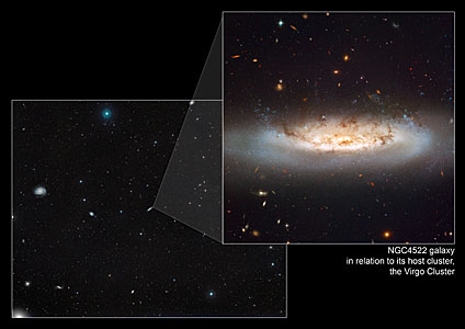 Composite image showing NGC 4522 within its home cluster