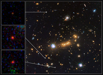 Hubble spots three magnified views of most distant known galaxy