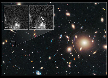 Cosmic lens Abell 383 helps Hubble to find a distant supernova (annotated)