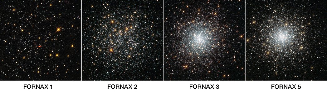 Four globular clusters in Fornax — annotated