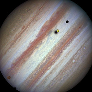 Three moons and their shadows parade across Jupiter — beginning of event