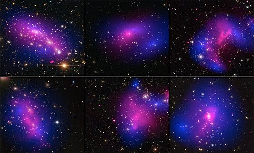 Collage of six cluster collisions, with dark-matter maps and X-ray data