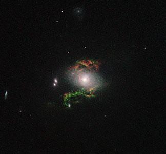 Hubble view of green filament in galaxy 2MASX J15100402+0740370
