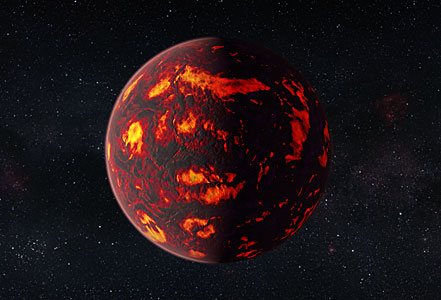 Artist's impression of 55 Cancri e (close-up)