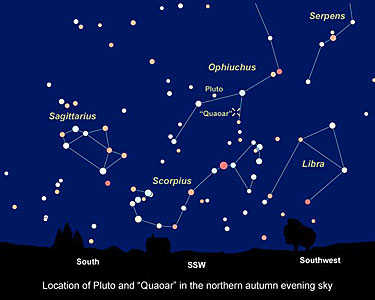 "Sky Chart Showing Location of KBO ""Quaoar"""