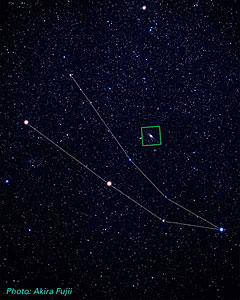 Location of M31 in Andromeda (ground-based image)