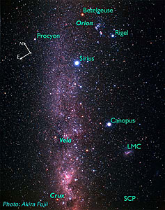 Vela and Surrounding Constellations (ground-based image)