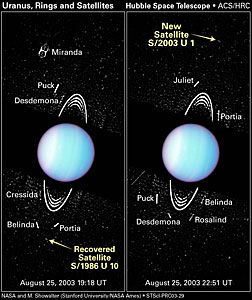 Hubble Spies Tiny Moons Circling Uranus