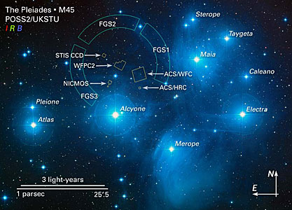 Annotated Image of the Pleiades and HST Field of View