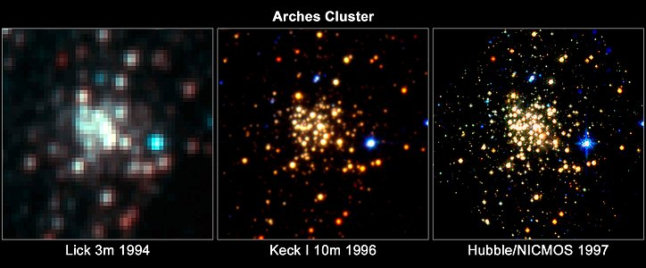 Trio of Images of the Arches Cluster