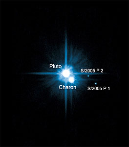 The Pluto System on Feb. 15, 2006 (Annotated)