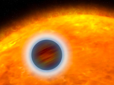 Puffed-up Atmosphere of a Star-hugging Gas Giant Planet (artist's impression)