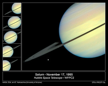 Hubble Sees Moons Racing Across Saturn