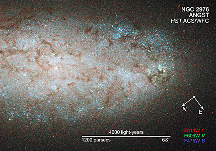 Compass and scale image for NGC 2976