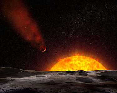 Artist's concept of exoplanet with comet-like tail