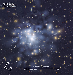 Compass and scale image for Abell 1689 dark matter map