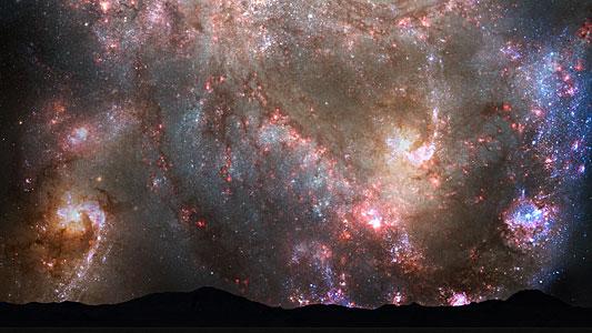 Nighttime Sky View of Future Galaxy Merger: 3.85-3.9 Billion Years