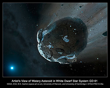 Artist's view of watery asteroid in white dwarf star system GD 61