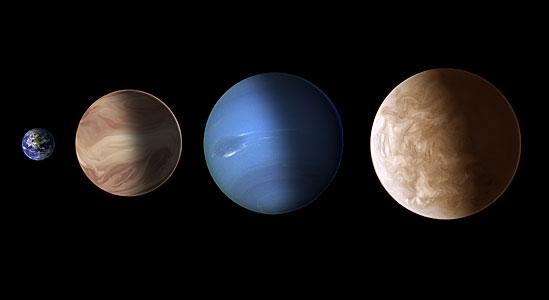 Size comparison for exoplanets GJ 436b and GJ 1214b (artist's illustration)