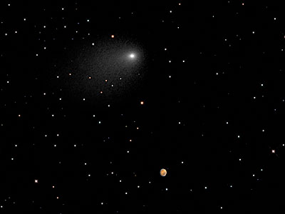 Illustration showing Mars and Comet Siding Spring encounter