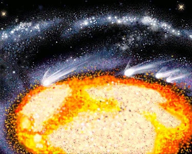 Illustration of Comet-Like Objects Racing Through the Cartwheel Galaxy's Core